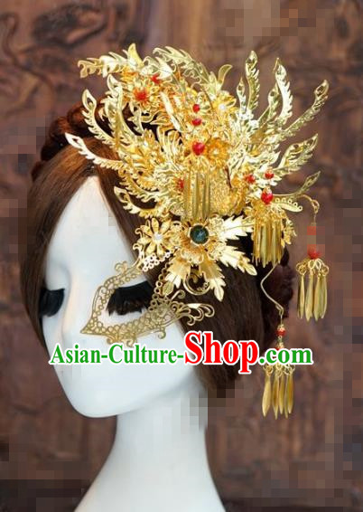 Chinese Traditional Handmade Hair Accessories Ancient Queen Golden Phoenix Hairpins Headwear for Women