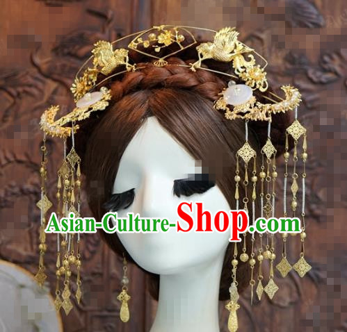 Chinese Traditional Handmade Golden Birds Phoenix Coronet Ancient Hairpins Hair Accessories Complete Set for Women
