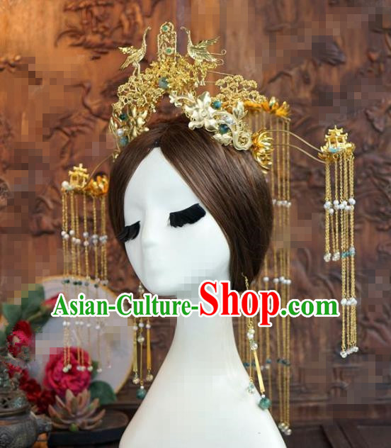 Chinese Traditional Handmade Golden Cranes Phoenix Coronet Ancient Hairpins Hair Accessories Complete Set for Women