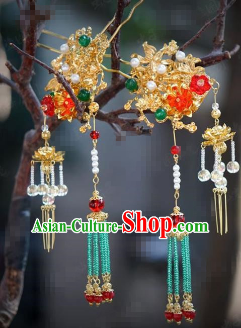 Chinese Traditional Hair Accessories Ancient Palace Golden Tassel Step Shake Bride Hairpins Headwear for Women