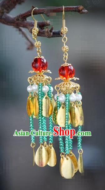 Chinese National Wedding Jewelry Accessories Handmade Traditional Green Beads Tassel Earrings for Women