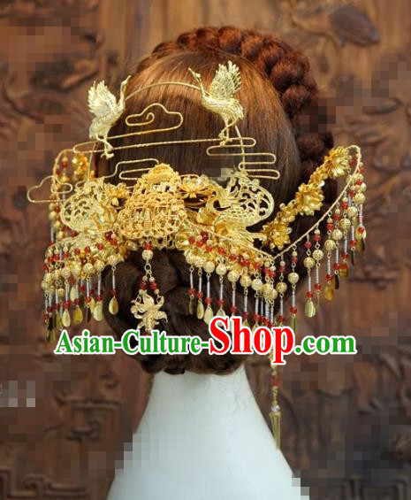 Chinese Traditional Hair Accessories Ancient Palace Golden Cranes Tassel Step Shake Bride Hairpins Headwear for Women