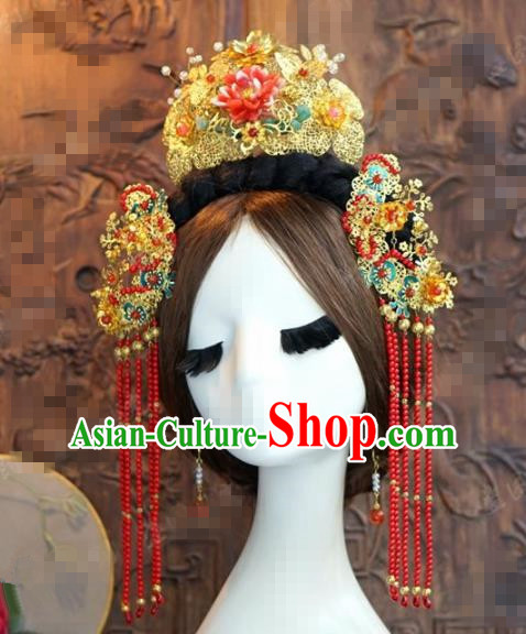 Chinese Traditional Handmade Pink Lotus Phoenix Coronet Ancient Hairpins Wedding Hair Accessories Complete Set for Women
