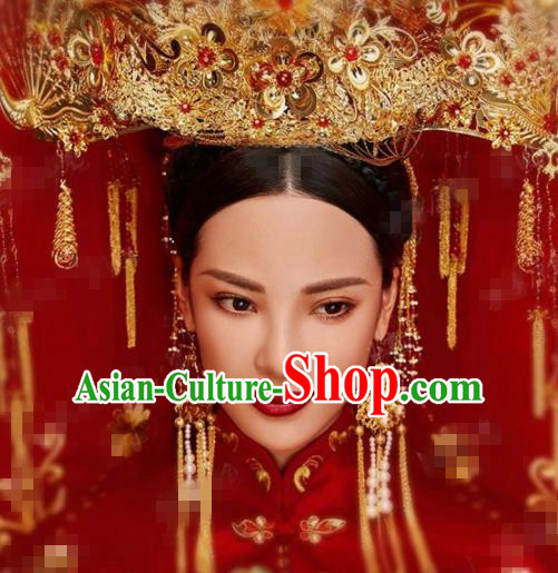 Chinese Traditional Handmade Luxury Golden Phoenix Coronet Ancient Wedding Hair Accessories Complete Set for Women