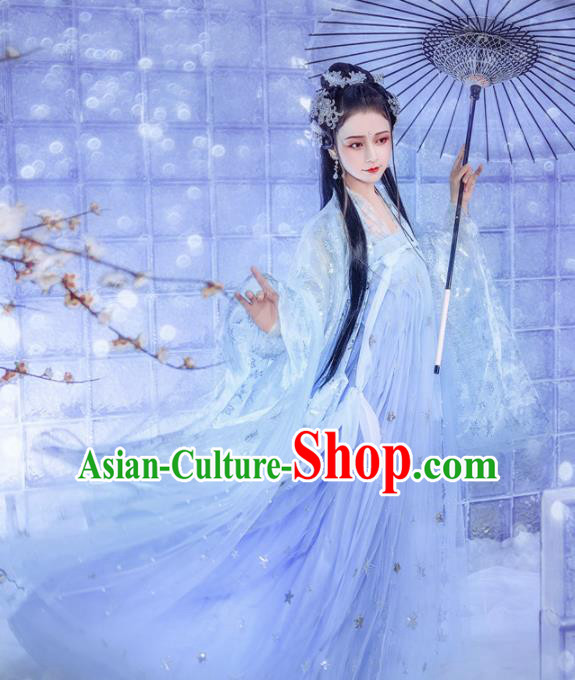 Chinese Traditional Tang Dynasty Princess Hanfu Dress Ancient Peri Costume for Women