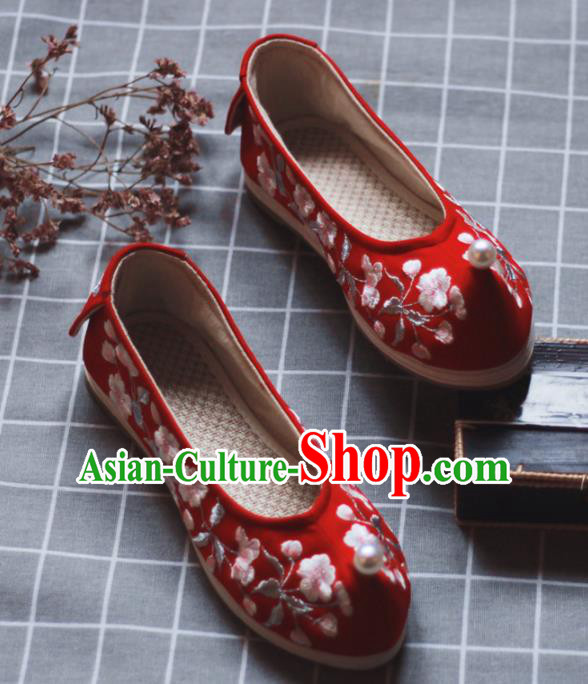 Asian Chinese Wedding Hanfu Shoes Traditional Ancient Princess Pearl Red Embroidered Shoes for Women