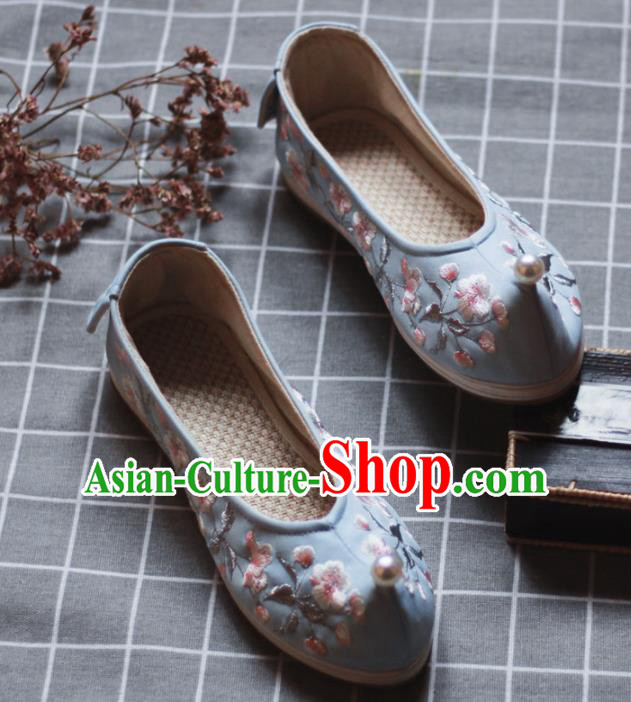 Asian Chinese Wedding Hanfu Shoes Traditional Ancient Princess Pearl Blue Embroidered Shoes for Women