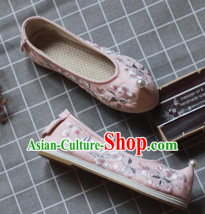 Asian Chinese Wedding Hanfu Shoes Traditional Ancient Princess Pearl Pink Embroidered Shoes for Women