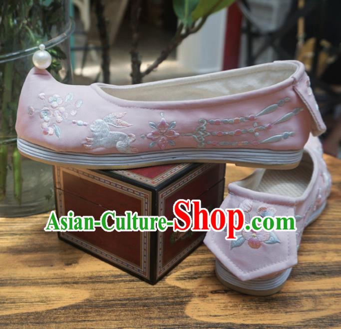 Asian Chinese Wedding Hanfu Shoes Traditional Ancient Princess Pink Embroidered Shoes for Women