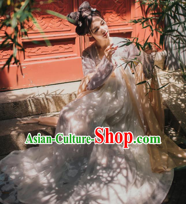 Chinese Traditional Tang Dynasty Court Maid White Hanfu Dress Ancient Peri Costume for Women