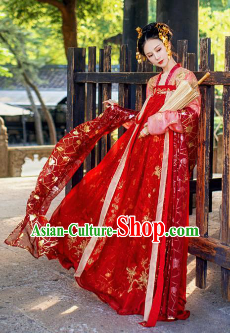 Chinese Traditional Tang Dynasty Wedding Embroidered Historical Costume Ancient Peri Princess Red Hanfu Dress for Women