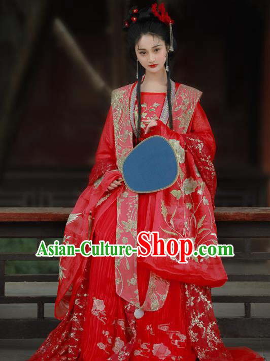 Chinese Traditional Song Dynasty Wedding Red Hanfu Dress Ancient Palace Princess Embroidered Costume for Women
