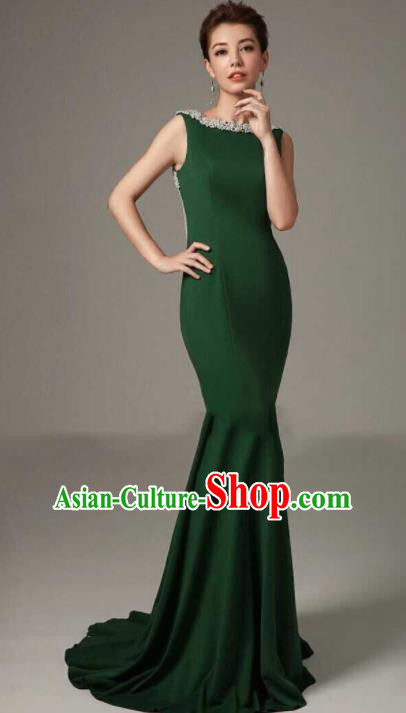 Professional Compere Fishtail Trailing Green Full Dress Modern Dance Princess Wedding Dress for Women
