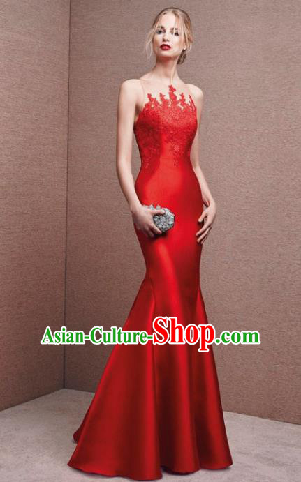 Top Grade Red Satin Full Dress Compere Modern Fancywork Costume Princess Wedding Dress for Women