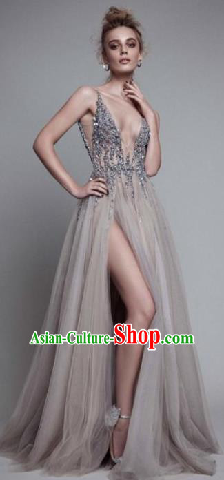 Top Grade Grey Veil Full Dress Compere Modern Fancywork Costume Princess Wedding Dress for Women