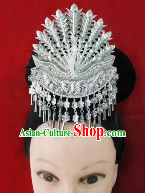 Traditional Chinese Ethnic Wedding Phoenix Hair Accessories Miao Nationality Bride Hairpins for Women