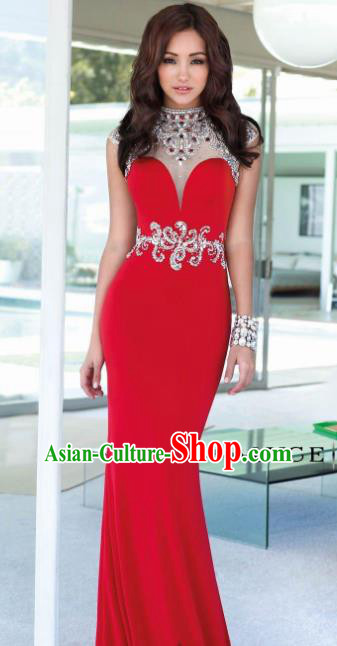 Top Grade Catwalks Red Evening Dress Compere Modern Fancywork Costume for Women