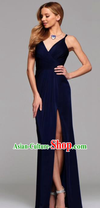 Top Grade Catwalks Navy Satin Evening Dress Compere Modern Fancywork Costume for Women