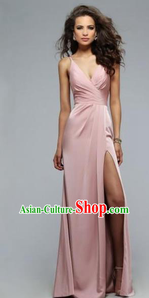 Top Grade Catwalks Pink Satin Evening Dress Compere Modern Fancywork Costume for Women