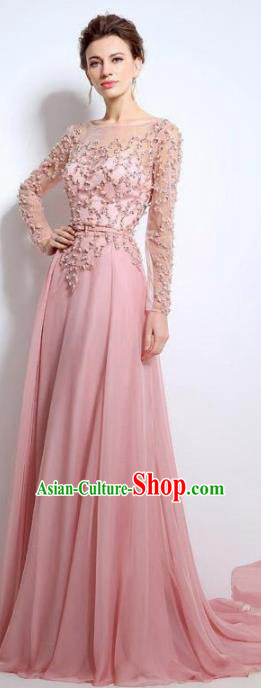 Top Grade Catwalks Pink Embroidered Beads Evening Dress Compere Modern Fancywork Costume for Women