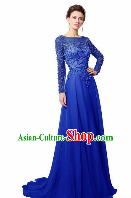 Top Grade Catwalks Royalblue Embroidered Beads Evening Dress Compere Modern Fancywork Costume for Women