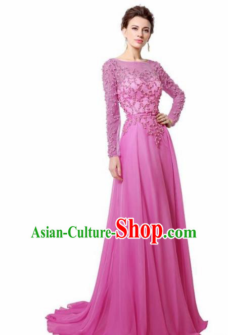 Top Grade Catwalks Rosy Embroidered Beads Evening Dress Compere Modern Fancywork Costume for Women