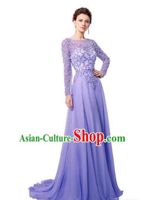 Top Grade Catwalks Purple Embroidered Beads Evening Dress Compere Modern Fancywork Costume for Women