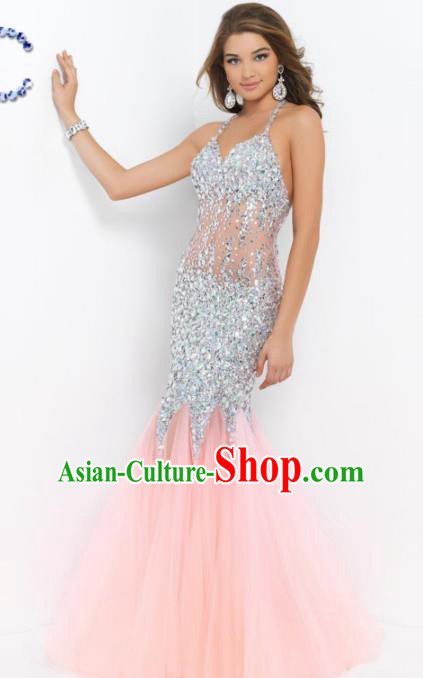 Top Grade Catwalks Pink Veil Fishtail Crystal Evening Dress Compere Modern Fancywork Costume for Women