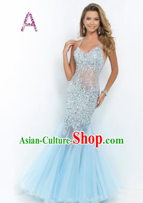 Top Grade Catwalks Blue Veil Fishtail Crystal Evening Dress Compere Modern Fancywork Costume for Women