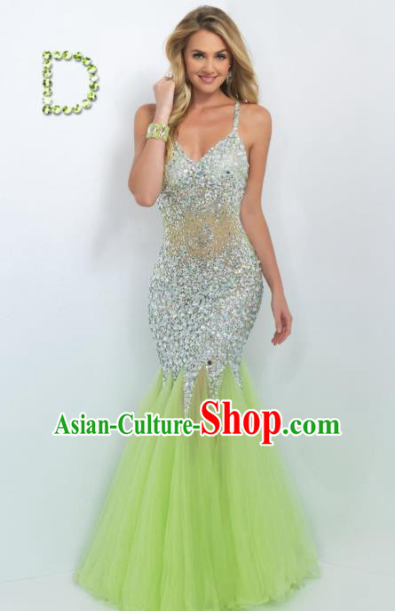 Top Grade Catwalks Green Veil Fishtail Crystal Evening Dress Compere Modern Fancywork Costume for Women