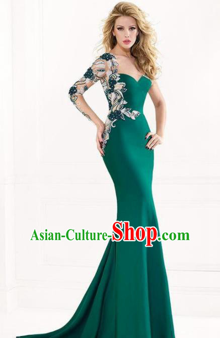 Top Grade Catwalks Deep Green Embroidered Evening Dress Compere Modern Fancywork Costume for Women