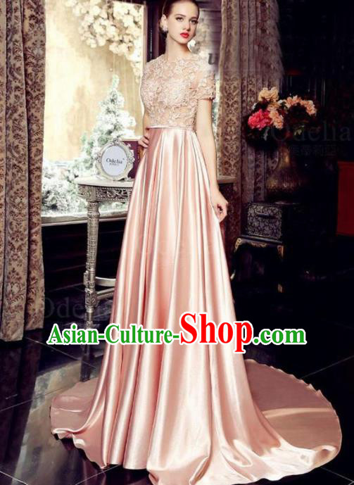 Top Grade Catwalks Pink Embroidered Lace Evening Dress Compere Modern Fancywork Costume for Women