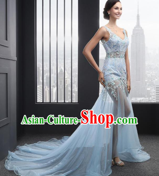 Top Grade Catwalks Blue Embroidered Lace Evening Dress Compere Modern Fancywork Costume for Women