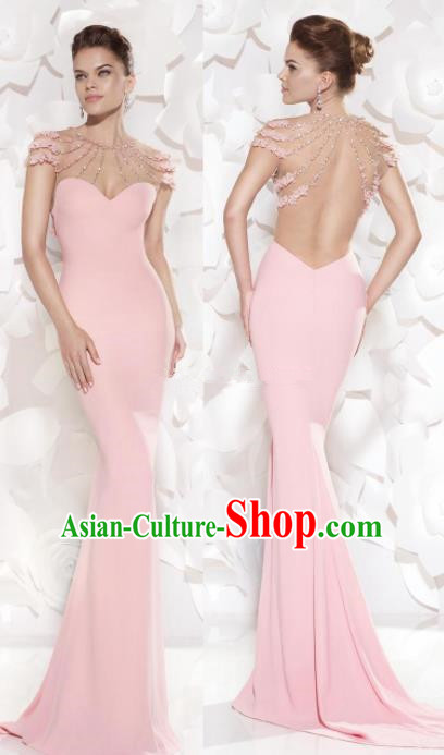 Top Grade Pink Trailing Full Dress Compere Modern Fancywork Costume Princess Wedding Dress for Women