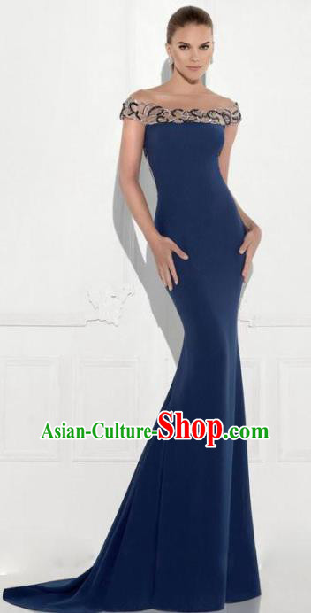Top Grade Navy Trailing Full Dress Compere Modern Fancywork Costume Princess Wedding Dress for Women