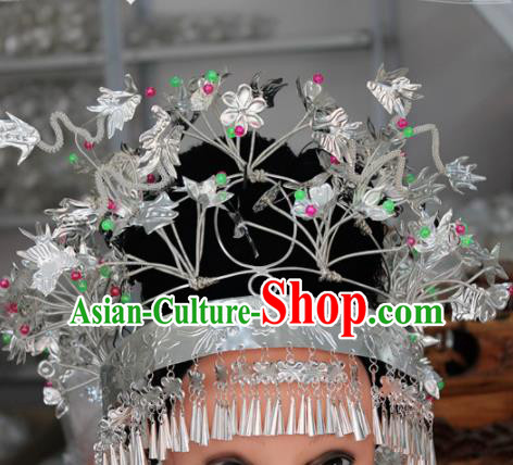 Chinese Traditional Ethnic Princess Hair Crown Sliver Tassel Phoenix Coronet Miao Nationality Bride Hairpins for Women