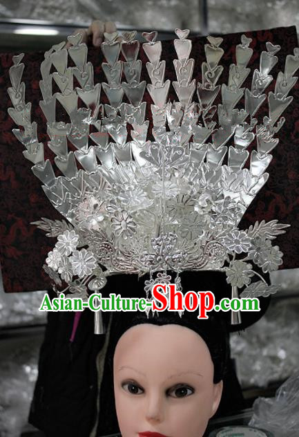 Chinese Traditional Ethnic Hair Crown Sliver Phoenix Coronet Miao Nationality Bride Hairpins for Women