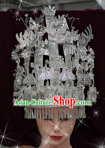 Chinese Traditional Ethnic Hair Crown Sliver Tassel Phoenix Coronet Miao Nationality Bride Hairpins for Women