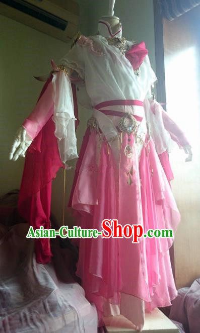 Chinese Traditional Cosplay Peri Costume Ancient Female Knight Swordswoman Pink Dress for Women