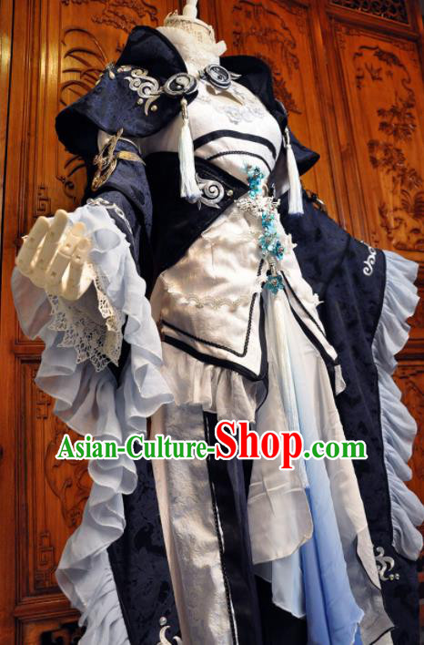 Chinese Traditional Cosplay Princess Costume Ancient Peri Swordswoman Navy Dress for Women