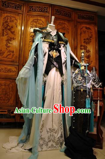 Chinese Traditional Cosplay Royal Highness Knight Costume Ancient Swordsman Clothing for Men