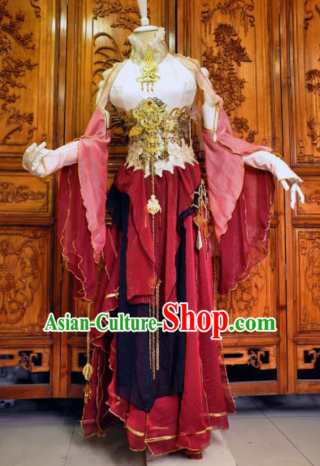 Chinese Traditional Cosplay Heroine Female Knight Costume Ancient Swordswoman Red Dress for Women