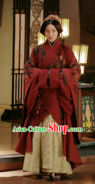 Chinese Ancient Contessa Hanfu Dress The Lengend Of Haolan Warring States Period Historical Costume and Headpiece for Women