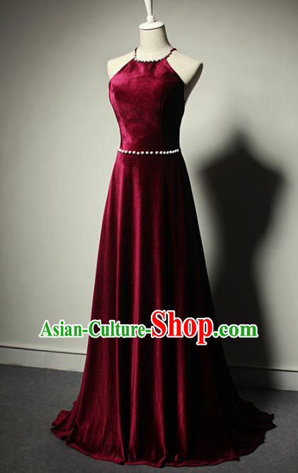 Top Grade Catwalks Wine Red Velvet Evening Dress Compere Modern Fancywork Costume for Women