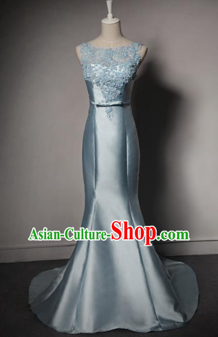 Top Grade Catwalks Blue Satin Evening Dress Compere Modern Fancywork Costume for Women