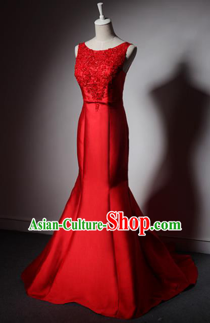 Top Grade Catwalks Red Satin Evening Dress Compere Modern Fancywork Costume for Women