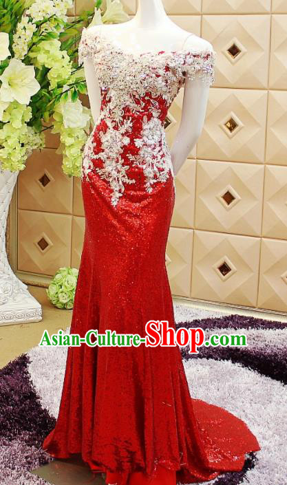 Top Grade Catwalks Red Paillette Evening Dress Compere Modern Fancywork Costume for Women