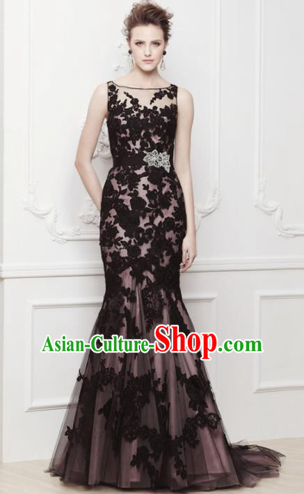 Top Grade Catwalks Black Veil Trailing Evening Dress Compere Modern Fancywork Costume for Women