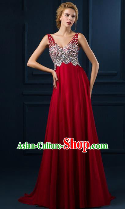 Top Grade Catwalks Diamante Red Evening Dress Compere Modern Fancywork Costume for Women