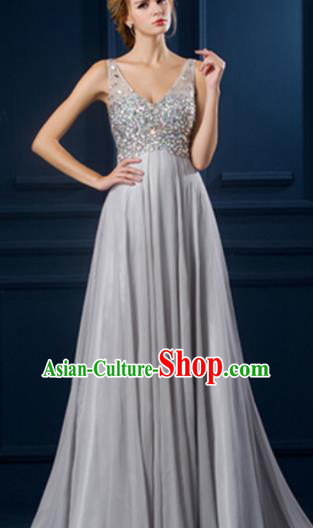 Top Grade Catwalks Diamante Grey Evening Dress Compere Modern Fancywork Costume for Women